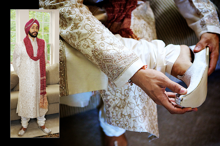 Hindu Sikh Indian Wedding Chicago, Illinois shoes with the curl for the groom