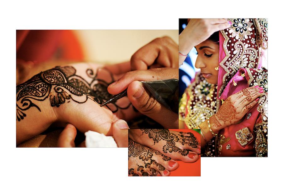 Hindu Sikh Indian Wedding Chicago, Illinois henna on the bride