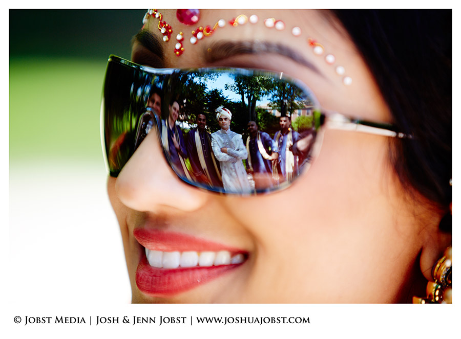 Indian bride with groomsmen in cool shot