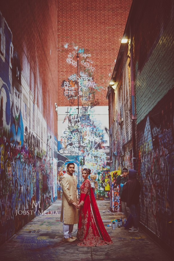 Indian Wedding Photos Chicago graffiti wall wide shot cool artistic